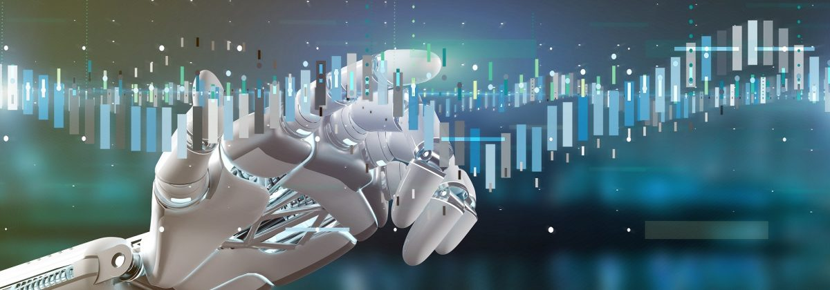 Cyborg hand holding a Business stock exchange trading data information 3d rendering